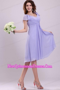 2013 Empire Cap Sleeves Lavender Ruching Dresses for Dama