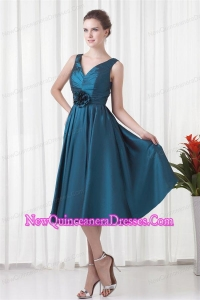 A-line V-neck Teal Taffeta Ruching Knee-length Dresses for Dama