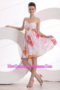 Baby Pink Sweetheart Printing and Ruching Dresses for Dama