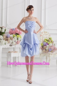 Lavender Strapless Short Taffeta Dresses for Dama with Bowknot