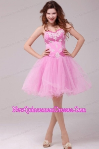 Princess Baby Pink Sweetheart Appliques Short Dresses for Dama