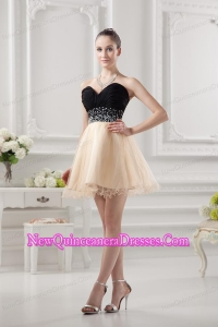 Sweetheart Organza Beading Organza Champagne Dresses for Dama