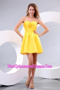 Yellow Sweetheart Hand Made Flower Dama Dress for Quinceanera with Short