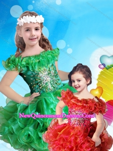 Affordable Scoop Cap Sleeves 2016 Little Girl Pageant Dress with Beading and Ruffles