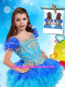 New Style Cap Sleeves Two Tone 2016 Little Girl Pageant Dress with Beading and Ruffles
