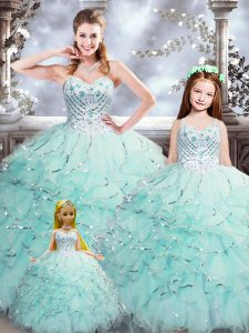 Ball Gowns Ball Gown Prom Dress Aqua Blue Sweetheart Organza Sleeveless Floor Length Lace Up