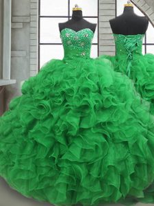 Green Ball Gowns Beading and Ruffles Vestidos de Quinceanera Lace Up Organza Sleeveless Floor Length