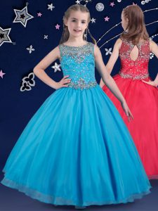 Amazing Scoop Baby Blue Sleeveless Beading Floor Length Little Girl Pageant Gowns