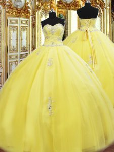 Floor Length Ball Gowns Sleeveless Yellow Quinceanera Dress Lace Up