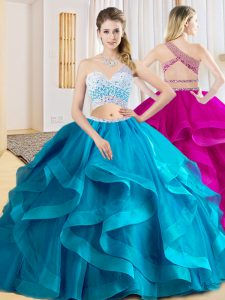 Flare Sleeveless Floor Length Beading and Ruffles Criss Cross Quinceanera Gown with Baby Blue