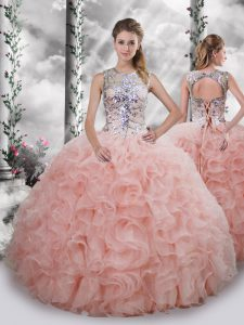 Designer Baby Pink Ball Gowns Organza Scoop Sleeveless Beading and Ruffles Floor Length Lace Up Quinceanera Gowns