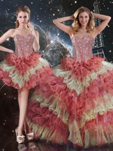 Exceptional Floor Length Ball Gowns Sleeveless Multi-color Sweet 16 Quinceanera Dress Lace Up