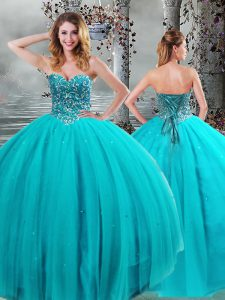 Adorable Floor Length Ball Gowns Sleeveless Aqua Blue 15th Birthday Dress Lace Up