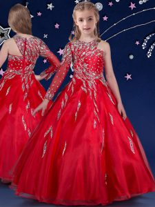 Floor Length Red Pageant Gowns For Girls Asymmetric Sleeveless Zipper