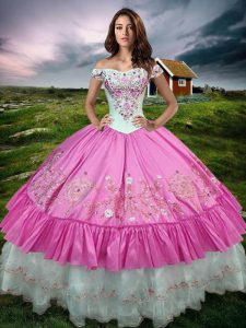 Admirable Rose Pink Sweet 16 Quinceanera Dress Military Ball and Sweet 16 and Quinceanera with Beading and Embroidery and Ruffled Layers Off The Shoulder Sleeveless Lace Up