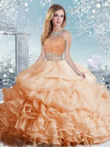 Peach Sleeveless Organza Clasp Handle Sweet 16 Quinceanera Dress for Military Ball and Sweet 16 and Quinceanera