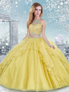 Floor Length Clasp Handle Quince Ball Gowns Gold for Military Ball and Sweet 16 and Quinceanera with Beading and Lace