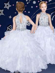 White Ball Gowns Organza Halter Top Sleeveless Beading and Ruffles Floor Length Zipper Little Girls Pageant Gowns