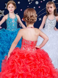 Halter Top Sleeveless Lace Up Floor Length Beading and Ruffles Little Girls Pageant Dress Wholesale
