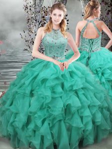 Popular Turquoise Organza Lace Up Quinceanera Gowns Sleeveless Brush Train Beading and Ruffles