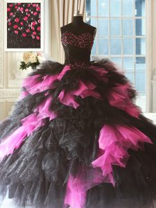 Pink And Black Sleeveless Beading and Ruffles Floor Length Sweet 16 Dresses