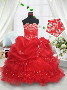Red Ball Gowns Beading and Ruffled Layers and Sequins and Pick Ups Child Pageant Dress Lace Up Organza Sleeveless Floor Length