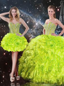 Yellow Green Sleeveless Floor Length Beading and Ruffles Lace Up Sweet 16 Quinceanera Dress