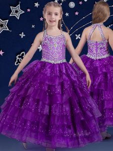 Halter Top Sleeveless Organza Girls Pageant Dresses Beading and Ruffled Layers Zipper