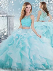 Scoop Sleeveless Clasp Handle Sweet 16 Dresses Aqua Blue Organza