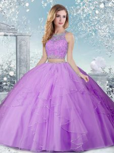 Elegant Floor Length Lavender Sweet 16 Dresses Tulle Sleeveless Beading