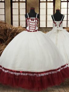 Super Straps White and Wine Red Sleeveless Floor Length Beading Lace Up Kids Formal Wear