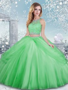 Tulle Scoop Sleeveless Clasp Handle Beading and Lace Quince Ball Gowns in