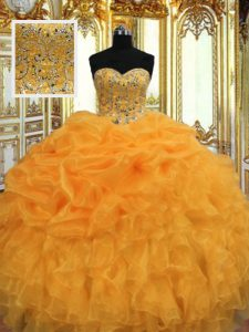 Lovely Orange Organza Lace Up Sweetheart Sleeveless Floor Length Sweet 16 Dress Beading and Ruffles