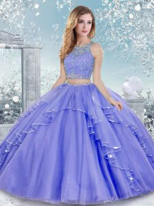 Captivating Beading and Lace Sweet 16 Dress Lavender Clasp Handle Sleeveless Floor Length