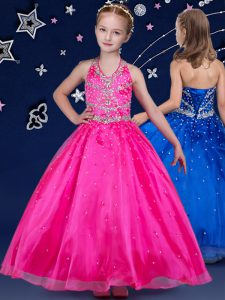 Halter Top Sleeveless Floor Length Beading Lace Up Little Girls Pageant Dress with Hot Pink