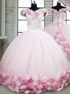 Delicate Fabric With Rolling Flowers Off The Shoulder Sleeveless Brush Train Lace Up Hand Made Flower Sweet 16 Dress in Pink