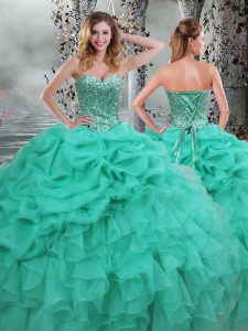 Customized Sweetheart Sleeveless Organza 15 Quinceanera Dress Beading and Ruffles Lace Up