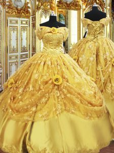 Super Gold Tulle Lace Up Quinceanera Dress Sleeveless Floor Length Beading and Appliques and Hand Made Flower