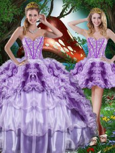 Floor Length Multi-color Quince Ball Gowns Organza Sleeveless Beading and Ruffles and Ruffled Layers