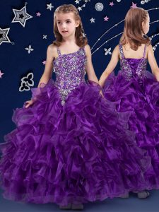Organza Asymmetric Sleeveless Lace Up Beading and Ruffled Layers Little Girl Pageant Gowns in Purple