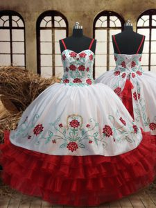 Adorable White and Red Spaghetti Straps Lace Up Embroidery and Ruffled Layers Kids Pageant Dress Sleeveless