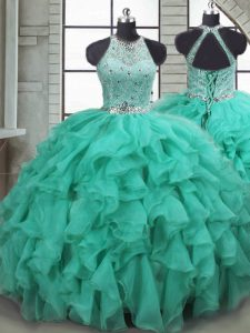 Flare Turquoise Ball Gowns Organza Scoop Sleeveless Beading and Ruffles Lace Up 15th Birthday Dress Brush Train