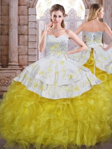 New Arrival Sweetheart Sleeveless Lace Up Quinceanera Gown Yellow And White Organza