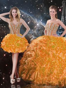 Traditional Orange Organza Lace Up Sweetheart Sleeveless Floor Length Quinceanera Gowns Beading and Ruffles