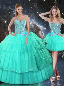 Affordable Turquoise Ball Gowns Organza Sweetheart Sleeveless Ruffled Layers and Sequins Floor Length Lace Up Vestidos de Quinceanera