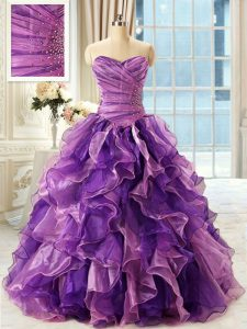 Fabulous Eggplant Purple Sweetheart Neckline Beading and Ruffles Sweet 16 Dress Sleeveless Lace Up