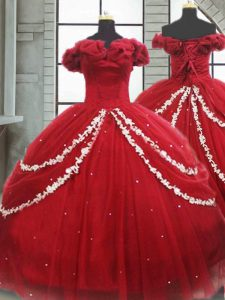 Most Popular Sleeveless Appliques and Pick Ups Lace Up Quinceanera Gown with Wine Red Brush Train