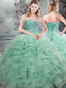 Inexpensive Sleeveless Beading and Ruffles Lace Up Quinceanera Dress