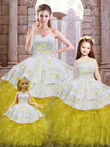 Beading and Appliques and Ruffles Quinceanera Dress Yellow And White Lace Up Sleeveless Floor Length