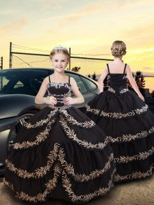 Black Taffeta Lace Up Spaghetti Straps Sleeveless Floor Length Kids Pageant Dress Embroidery and Ruffled Layers